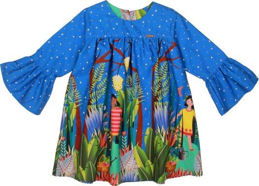 Vestido Manga Longa Azul Jardim Infantil - Precoce