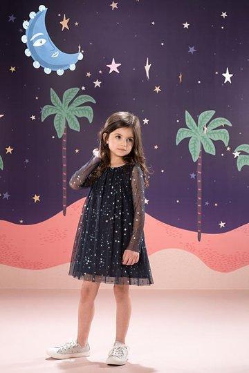 Vestido Manga Longa Laysla Estrelas Infantil - Que te Encante