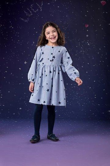 Vestido Manga Longa Listras Marinho com Estrelas Infantil - Que te Encante