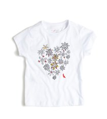 965ac4430 Camiseta Manga Curta com Coração de Flores Branco - Reserva Mini