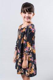 88e81cf2a Vestido Meia Manga Preto Estampa Tropical Infantil - Reserva Mini