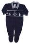 Macacão Classics Âncoras Marinheiro Marinho e Branco Tricot 100% Algodão - Verivê Baby
