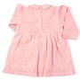 Vestido Franzido Rosa com Renda Tricot 100% Algodão - Verivê Baby