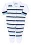 Macacão Classics Listradinho Branco Azul e Marinho Tricot 100% Algodão - Verivê Baby